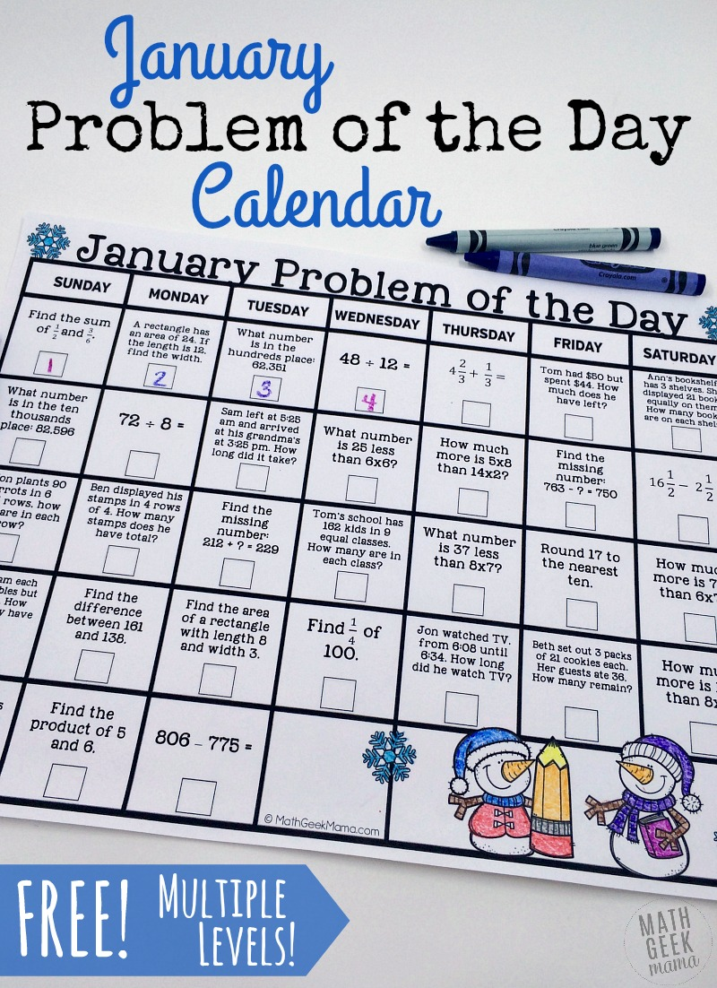 Free Printable Math Problem of the Day January Calendar