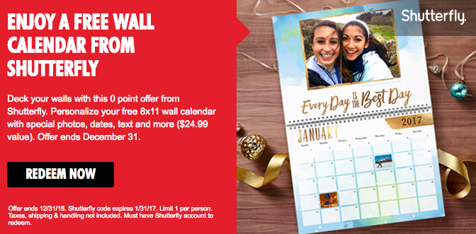 Shutterfly Calendar Ideas : My coke rewards free shutterfly wall calendar