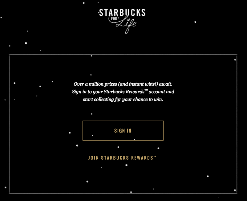 Starbucks for Life Instant Win Game (1 million winners!)