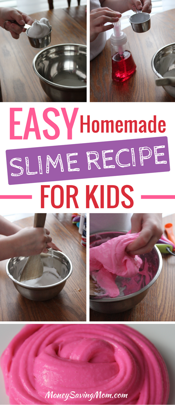 This homemade slime recipe is SO easy for kids to make! It's fun to make, provides hours of entertainment afterwards, and even makes a great gift idea!