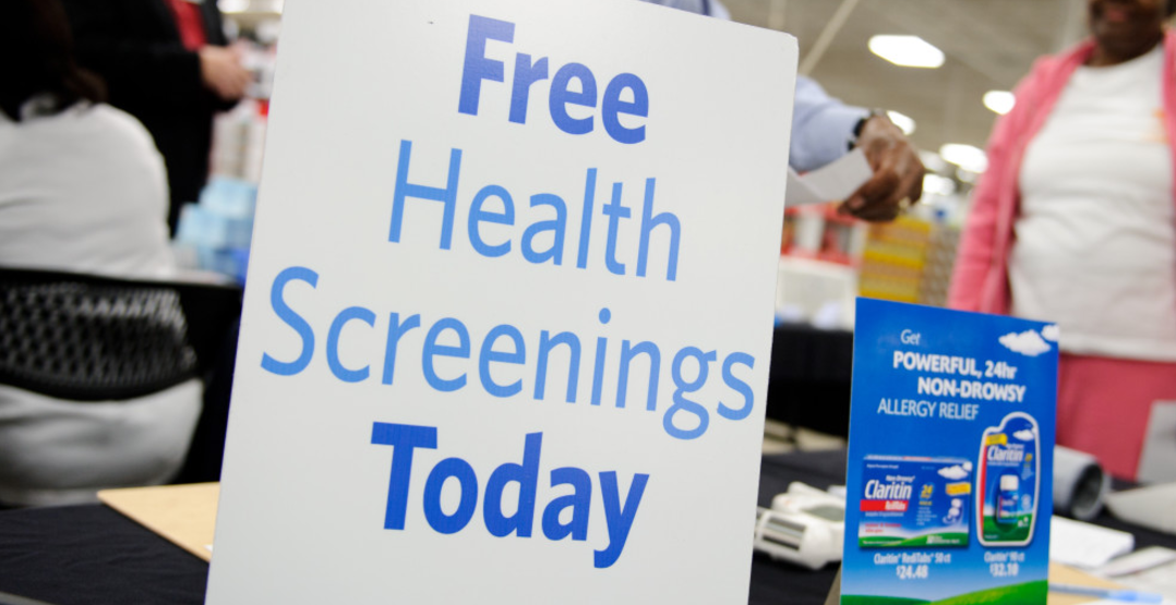 Free Health Screenings at Walmart and Sam's Club on January 14, 2017