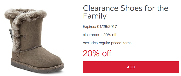 Target Cartwheel: 20% off Clearance shoes for the whole family!
