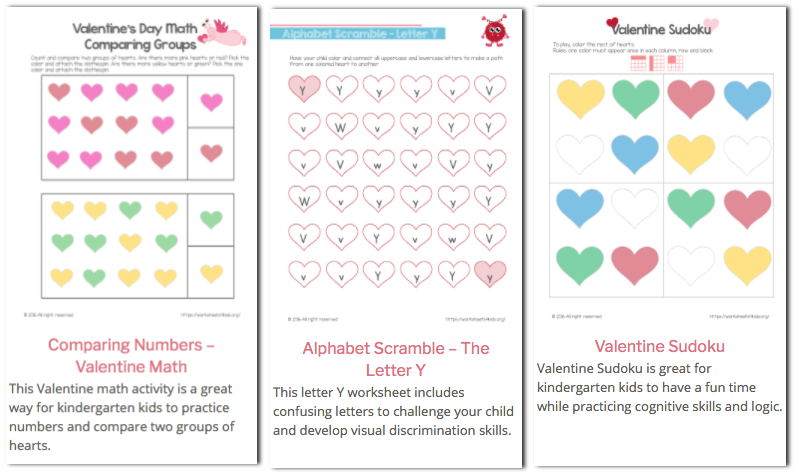 Free Printable Valentines Day Worksheets for Kids Money Saving Mom – Valentine Worksheets Free