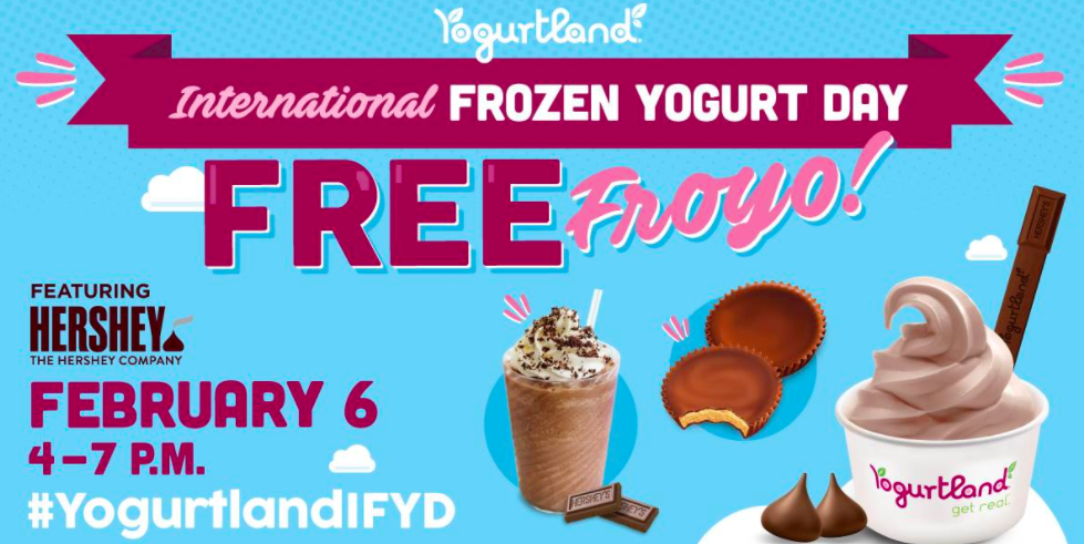 Yogurtland: Buy one, get one free frozen yogurt on February 6, 2017
