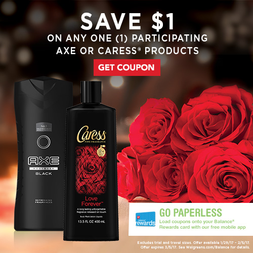 Save on Axe and Caress body wash at Walgreens!