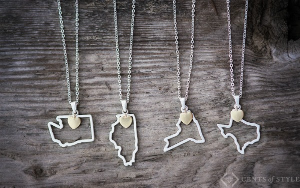 Cents of Style: Get two Custom State Necklaces for just $7.50 each, shipped!