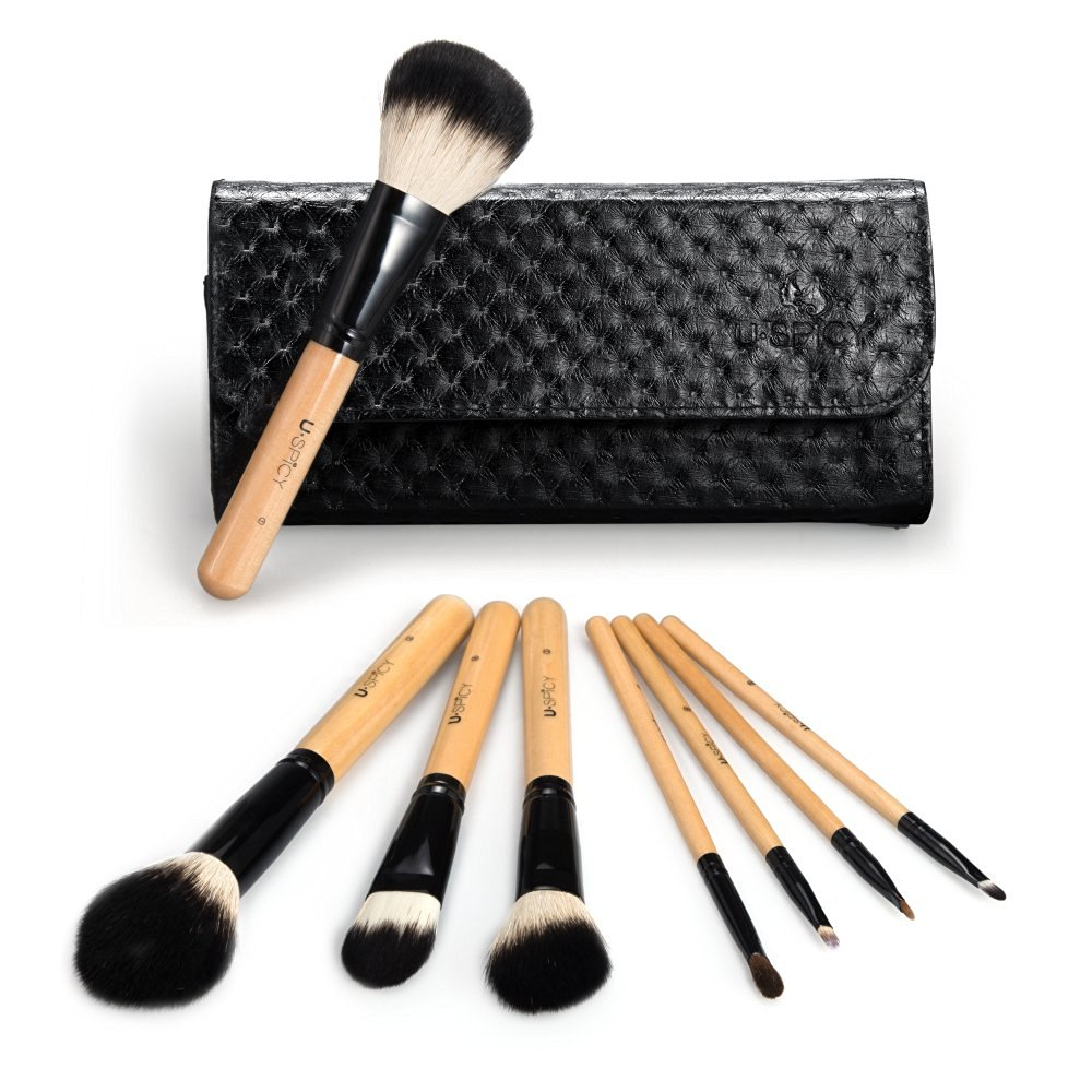 8 piece makeup brush set with travel pouch. Black Bedroom Furniture Sets. Home Design Ideas