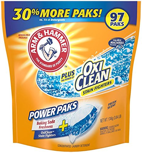 Amazon.com: Arm & Hammer Laundry Detergent Plus OxiClean Power Paks 97 Count for just $8.48!