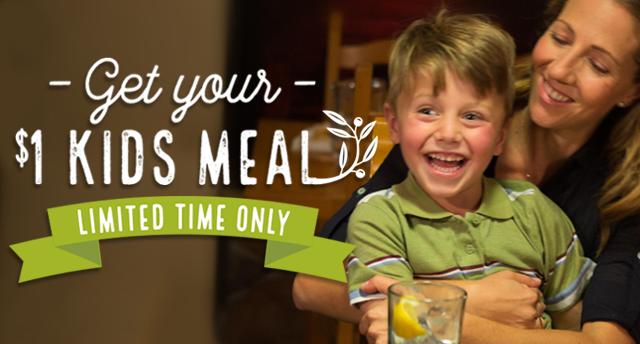 Olive Garden: $1 Kid's Meal