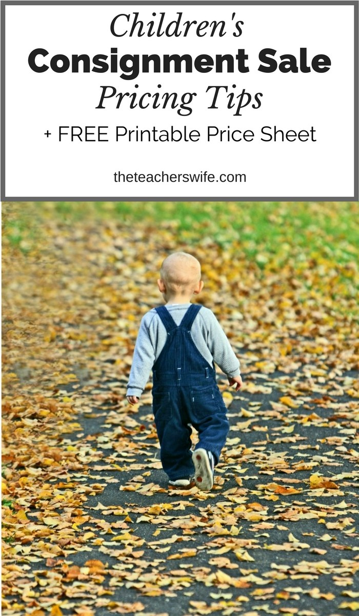 Free Printable Children's Consignment Sale Pricing Guide
