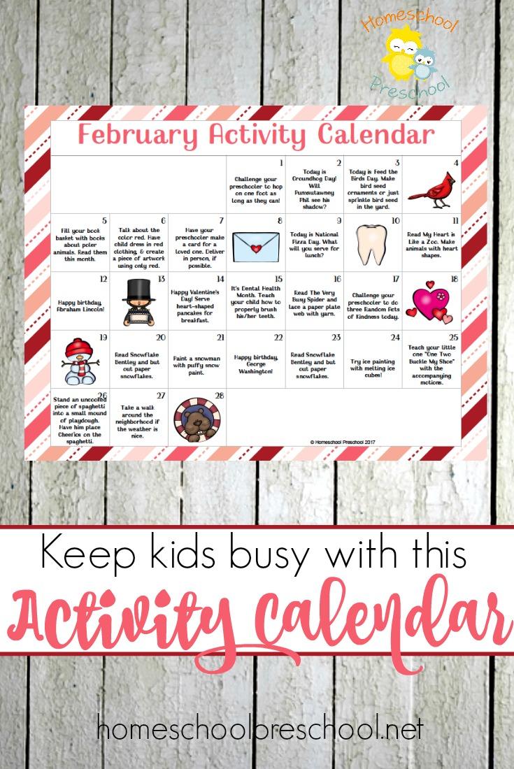 Doing Calendar With Kindergarten : Free printable february preschool activity calendar