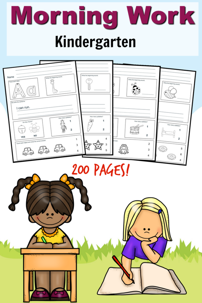 Free Kindergarten Morning Work Printable Pack