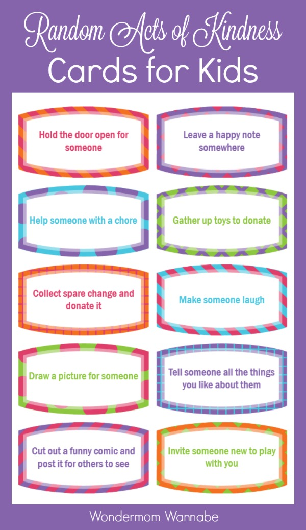 Encouraging Kindness In Kids >> Free Printable Random Acts Of Kindness Cards For Kids Money Saving