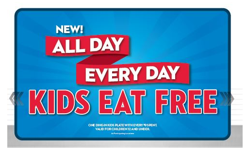 Steak 'n Shake: Kids eat free all day every day!
