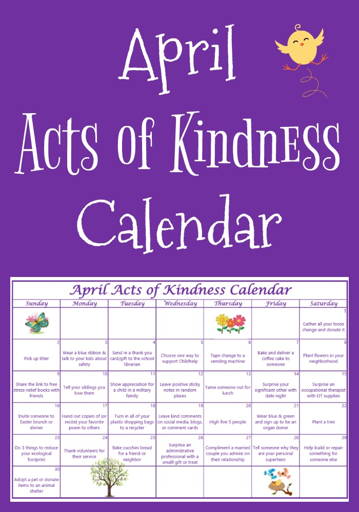 Free Printable April Acts of Kindness Calendar