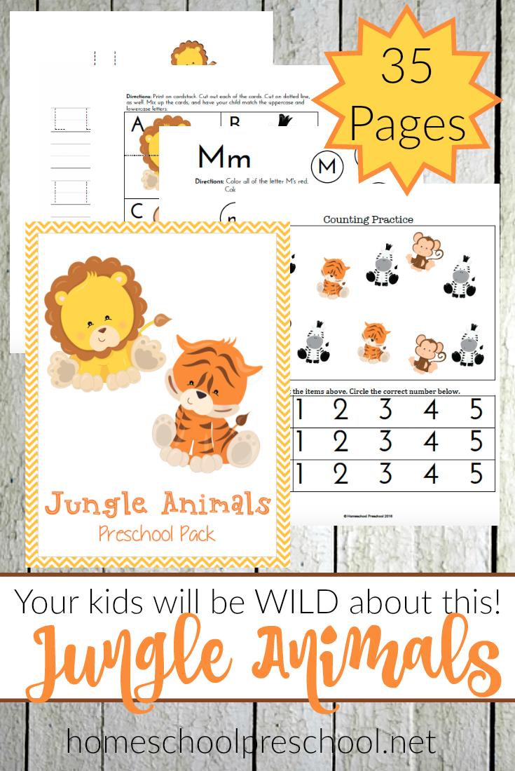 free jungle animals preschool printable pack money saving mom. Black Bedroom Furniture Sets. Home Design Ideas