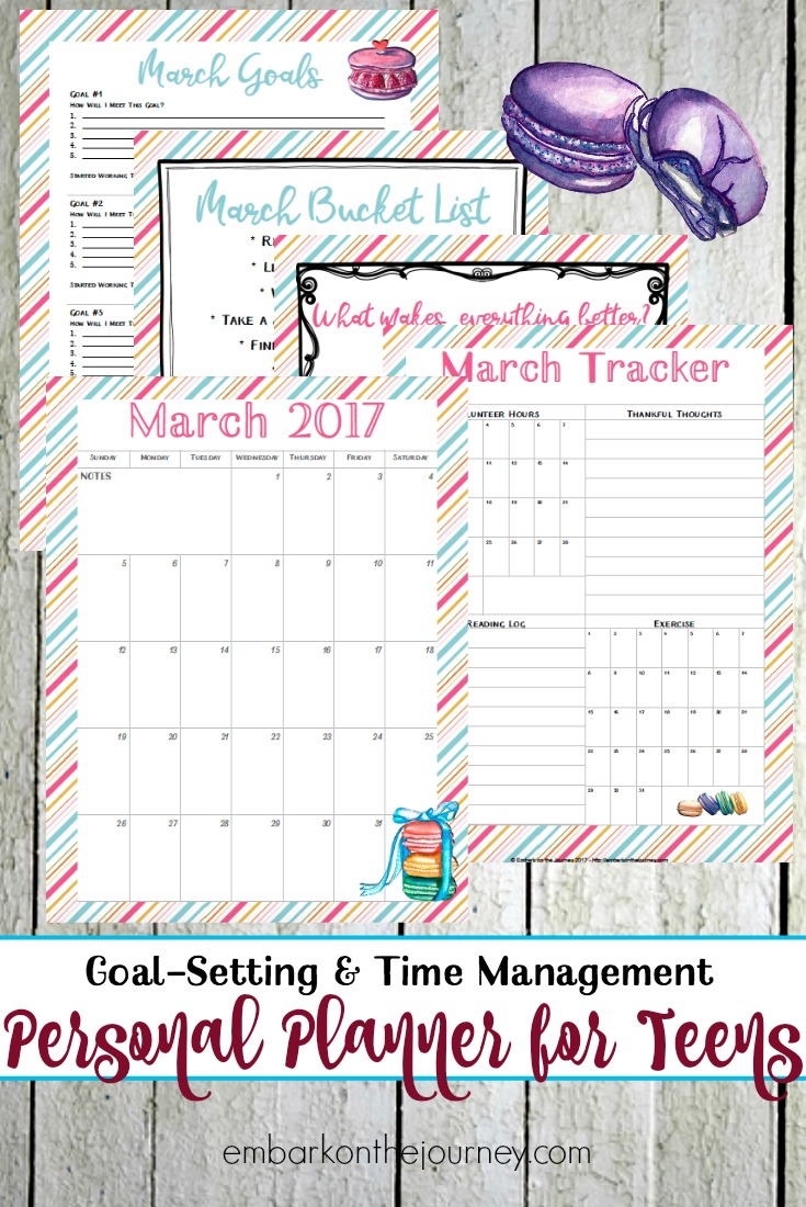 Free Printable March 2017 Teen Planner and Journal