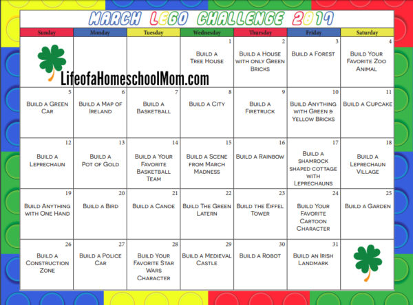 Free Printable 30-Day LEGO Challenge Calendar