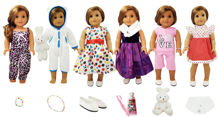 Amazon.com: Set of 13 American Girl Inspired Doll Outfits for just $35.85 shipped!