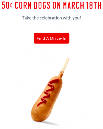 Sonic: $0.50 Corn Dogs on March 18, 2017