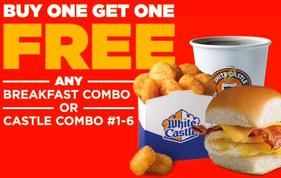 graphic about White Castle Printable Coupons known as White Castle: Order 1 Breakfast or Castle Combo, Attain 1
