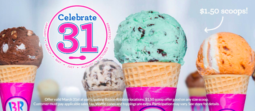 Baskin Robbins: Get ice cream scoops for just $1.50 on March 31, 2017