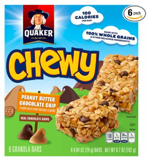 Amazon.com: Quaker Peanut Butter Chocolate Chip Chewy Granola Bars for just $1.49 per box, shipped!