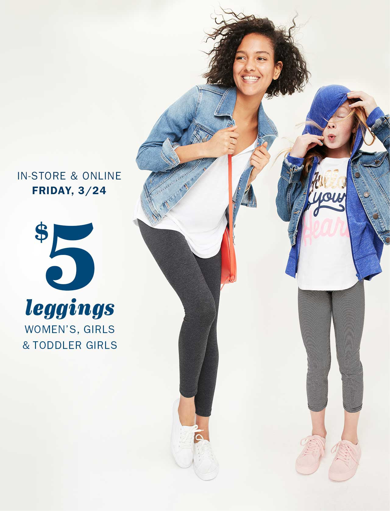 Old Navy: $5 Women's, Girl's and Toddlers Leggings!