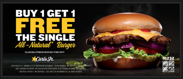 photograph about Carls Jr Coupons Printable named Hardees and Carls Jr: Get 1, get hold of a single no cost burgers