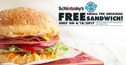 Schlotzsky's: Free Original Sandwich on April 18, 2017