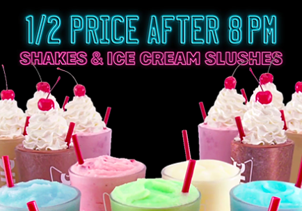 1/2 Price Shakes at Sonic (after 8 p.m. — all summer long!)
