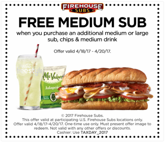 Firehouse Subs: Free medium sub sandwich with purchase!