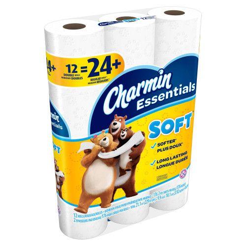 walmart charmin essentials toilet paper 12 double rolls