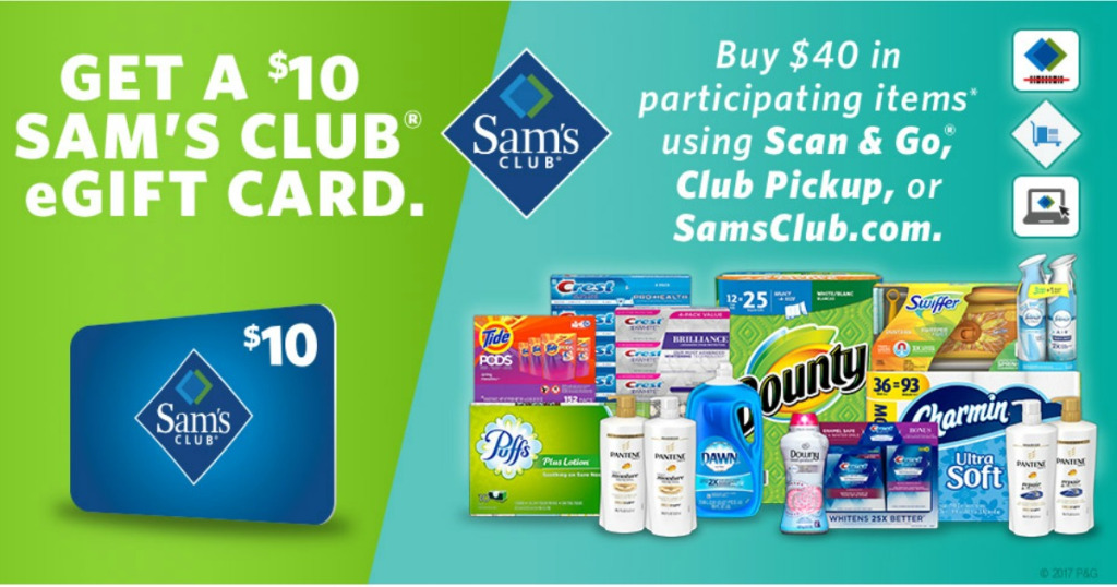 Sam's Club: Free $10 gift card with any $40 P&G product purchase!