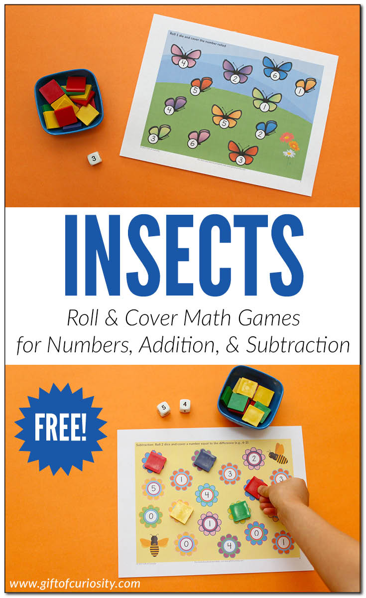 Free Printable Insects Roll & Cover Math Games