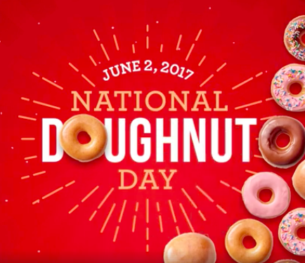 Krispy Kreme: Free doughnut on June 2, 2017