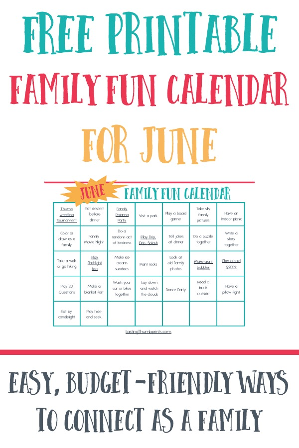 Free Printable Family Fun Calendar for June