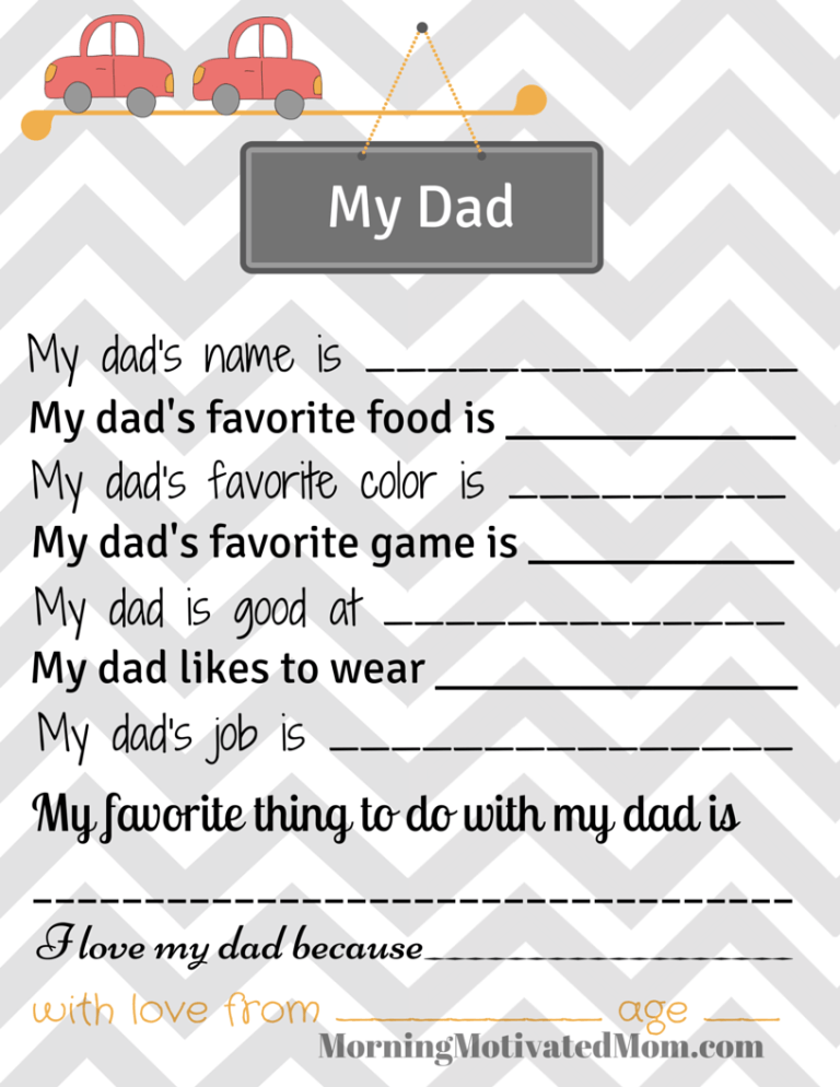 picture regarding All About My Dad Free Printable called Cost-free My Father Printable for Small children Cash Conserving Mom® : Dollars