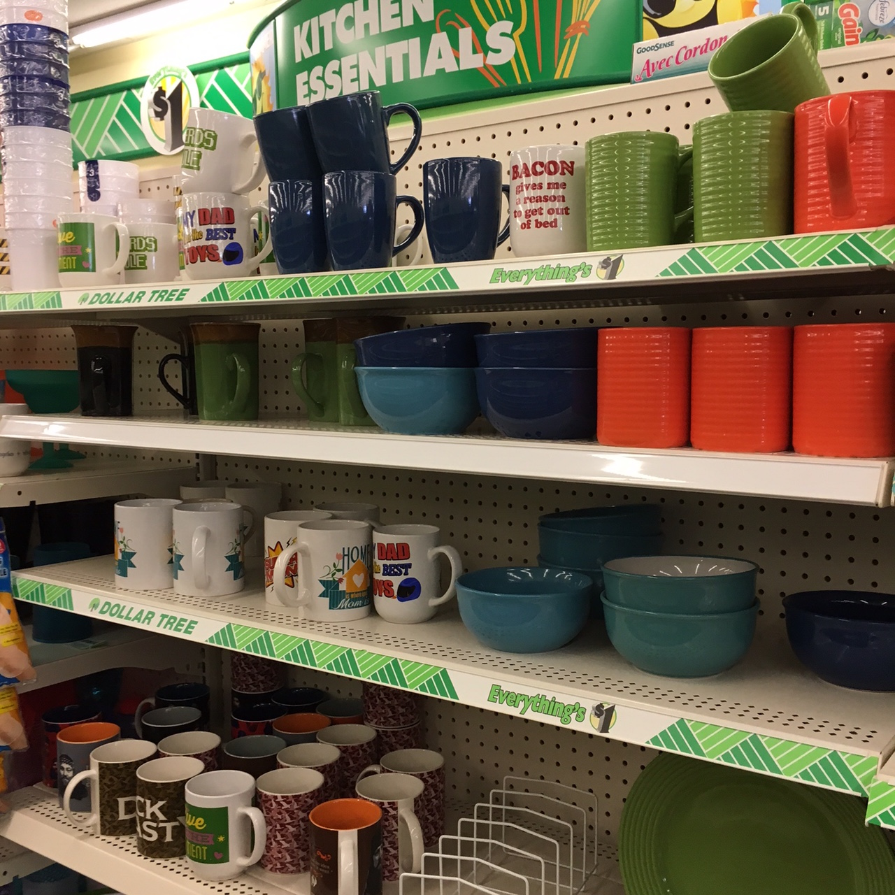 coffee mugs at Dollar Tree