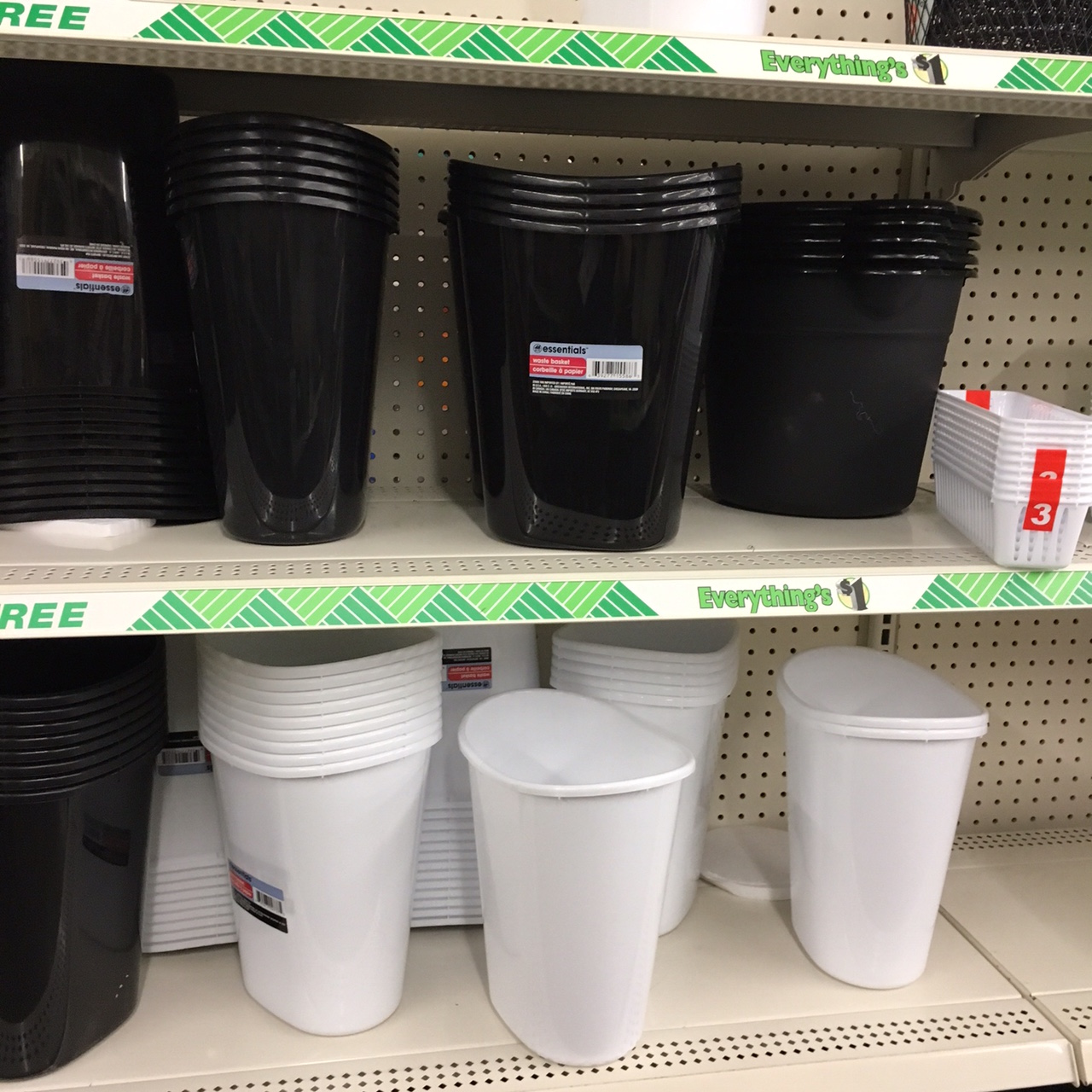 trash cans at Dollar Tree