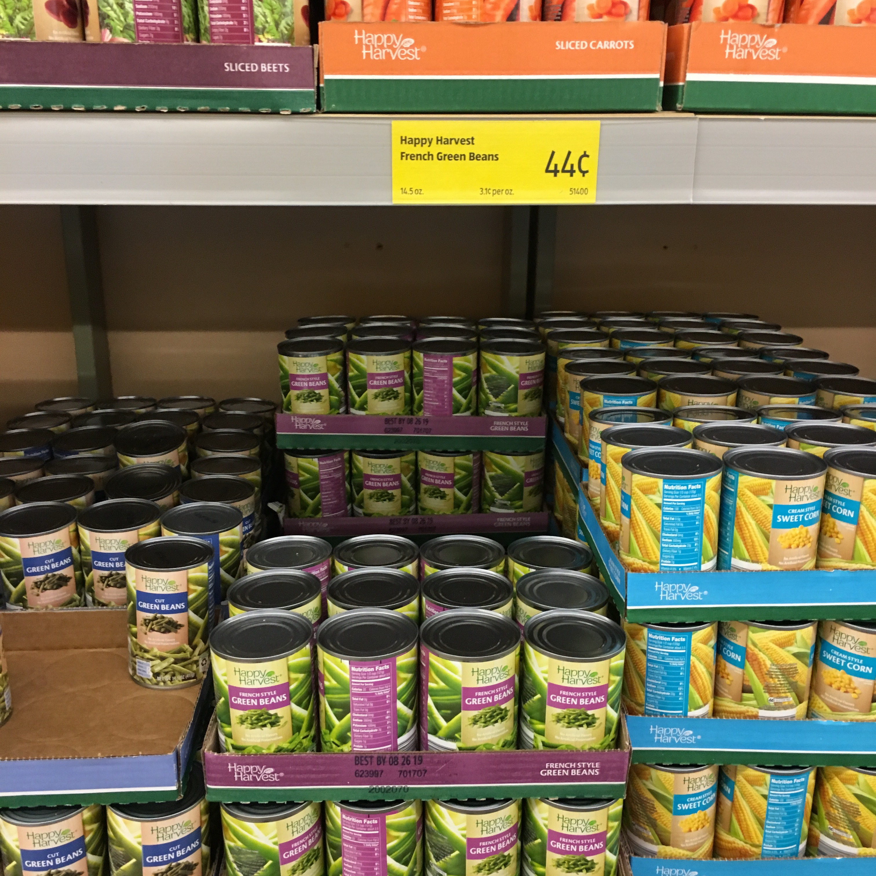 canned green beans at aldi