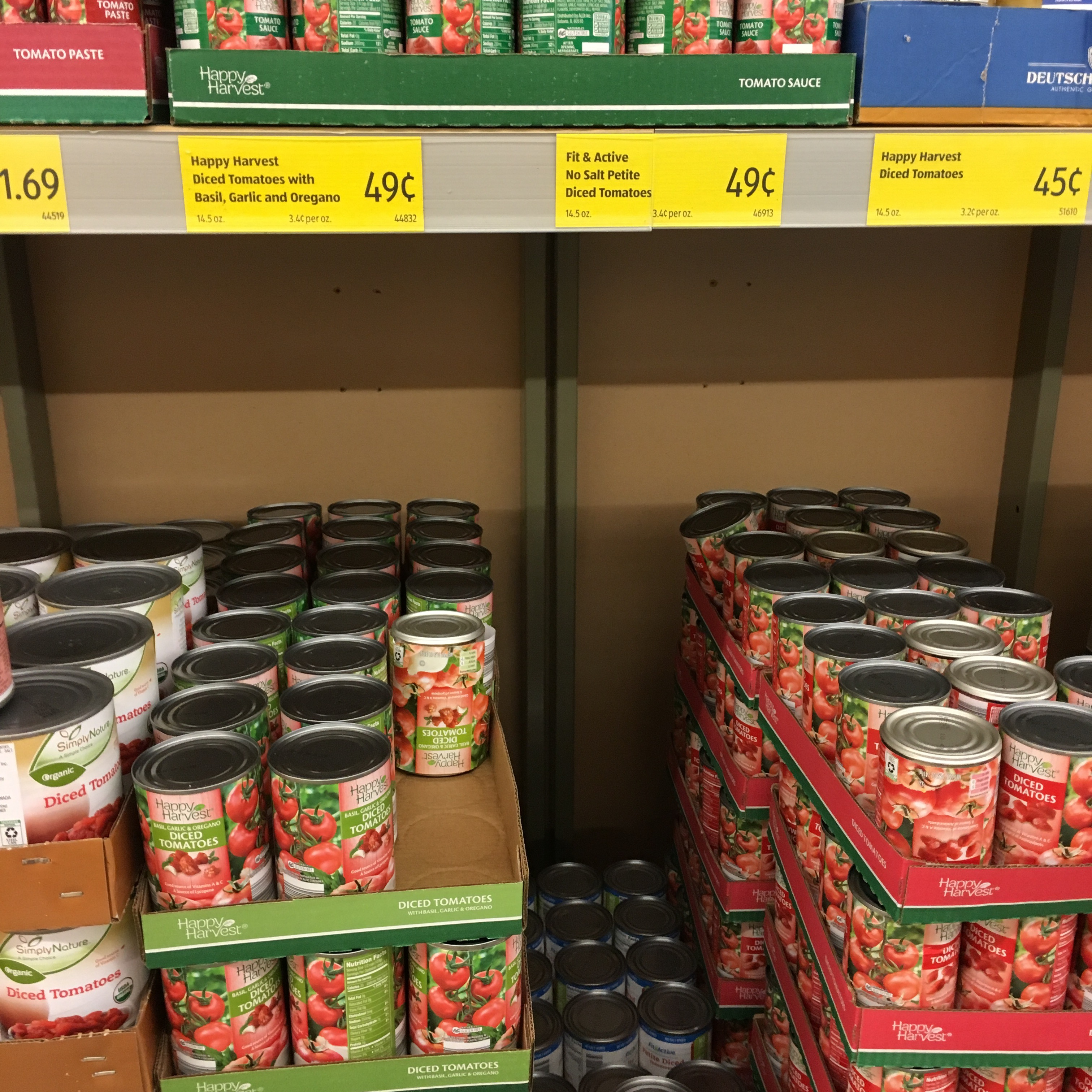 canned tomatoes at aldi