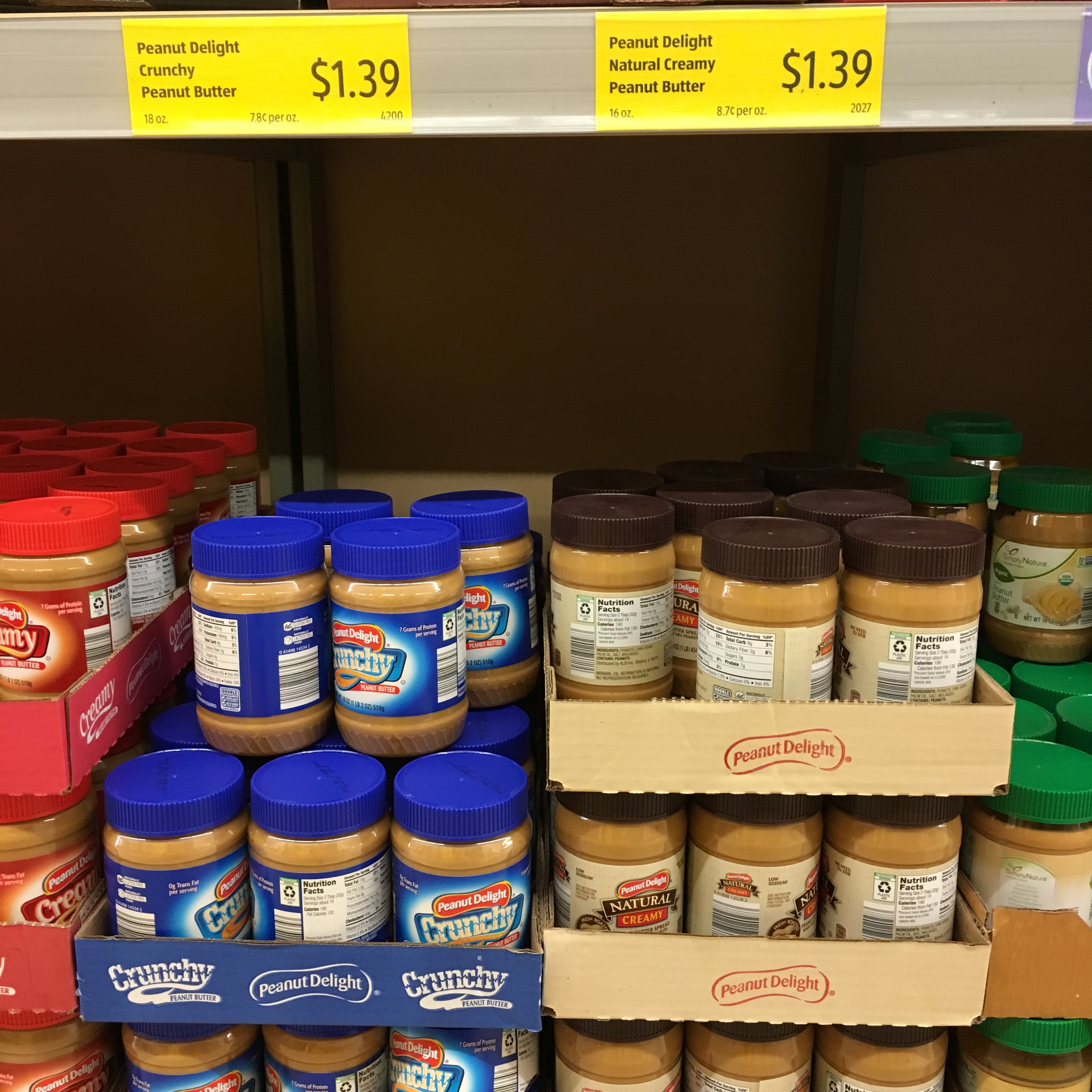 peanut butter at aldi