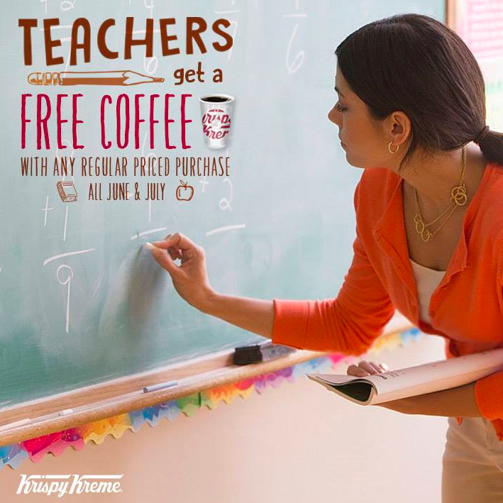 Krispy Kreme: Free coffee for teachers with any purchase