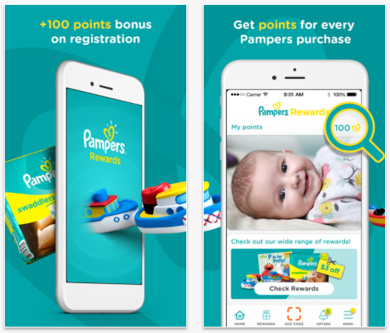 Pampers Gifts to Grow: 100 free points with app download