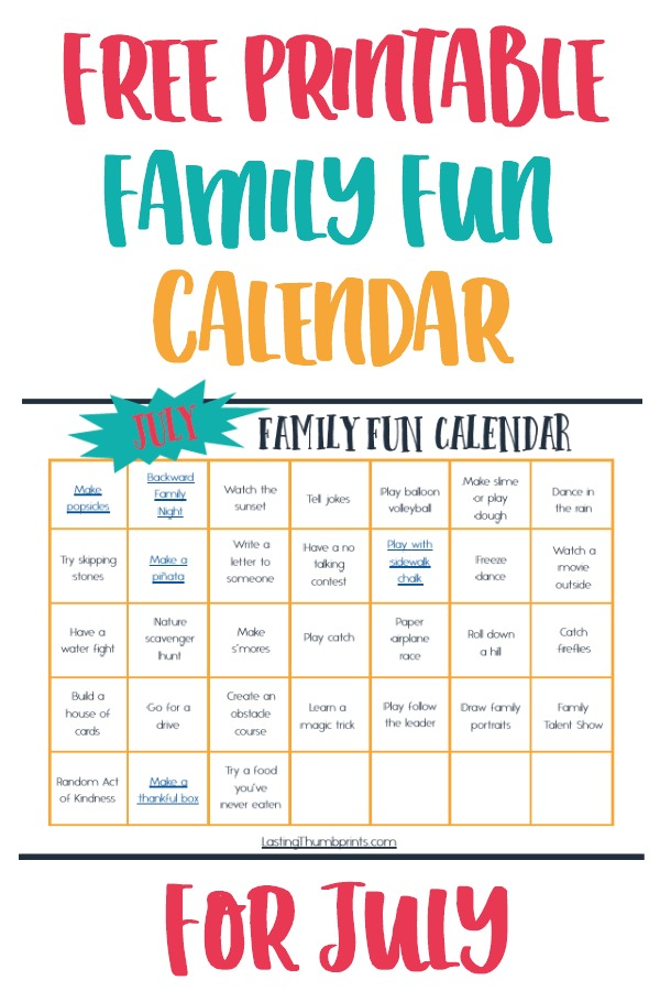 Free Printable July Family Fun Calendar