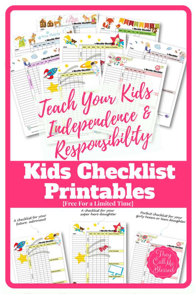 Free Printable Kids Weekly Checklists Money Saving Mom – Weekly Checklist