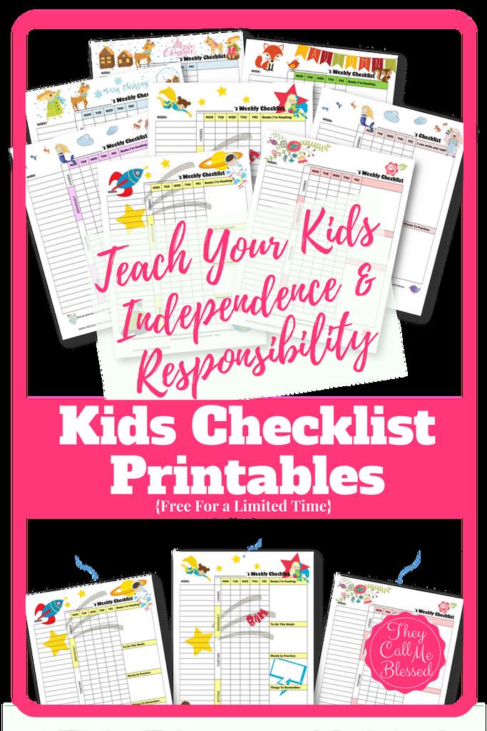 Free Printable Kids' Weekly Checklists