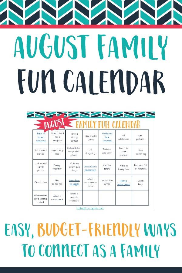 Free Printable August Family Fun Calendar
