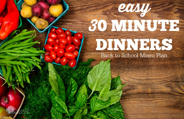 Free Printable Back to School 30 Minute Dinners Menu Plan